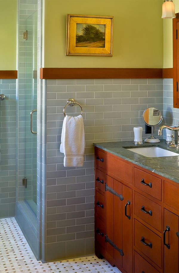 Darling Residence – Colored tile wainscoting with wood trim on top ...