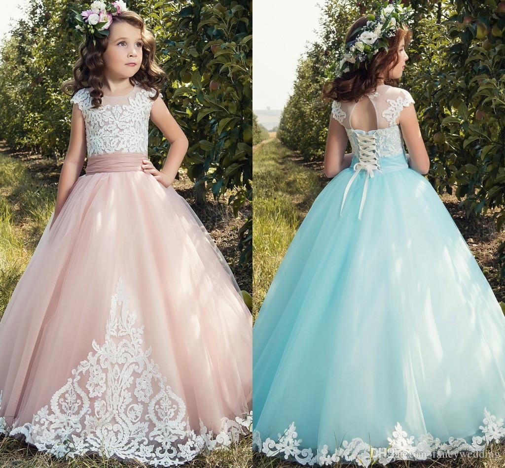 Cheap 2018 Lilac Flower Girls Dresses For Weddings Jewel Neck White ...