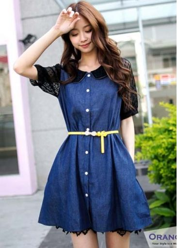 Sweet Peter Pan Collar Black Lace Patchwork Half Sleeve Denim Day Dress