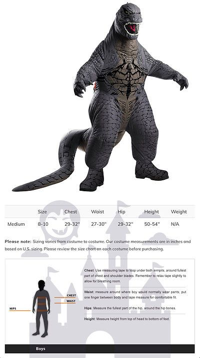 boys 80913 child inflatable deluxe godzilla halloween costume buy it now only