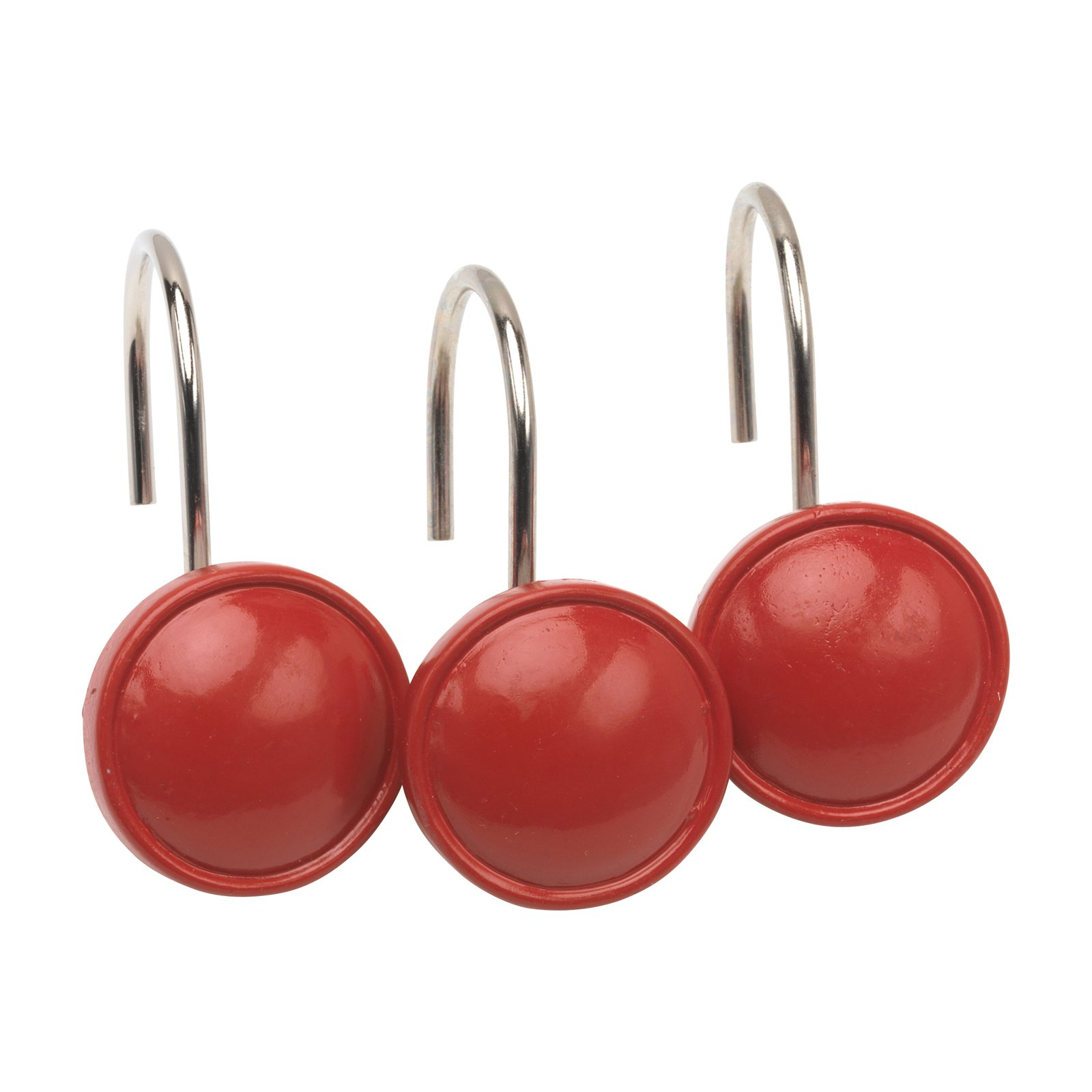 Carnation Home Fashions Color Rounds Shower Curtain Hooks Red