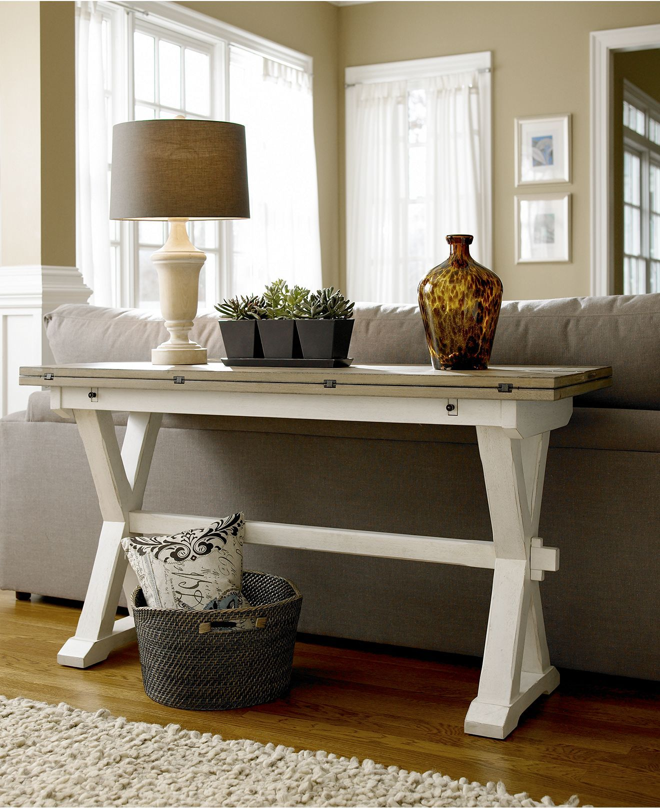Versatile Console Table With A Fold Out Leaf Use As Desk Dining Or Sofa