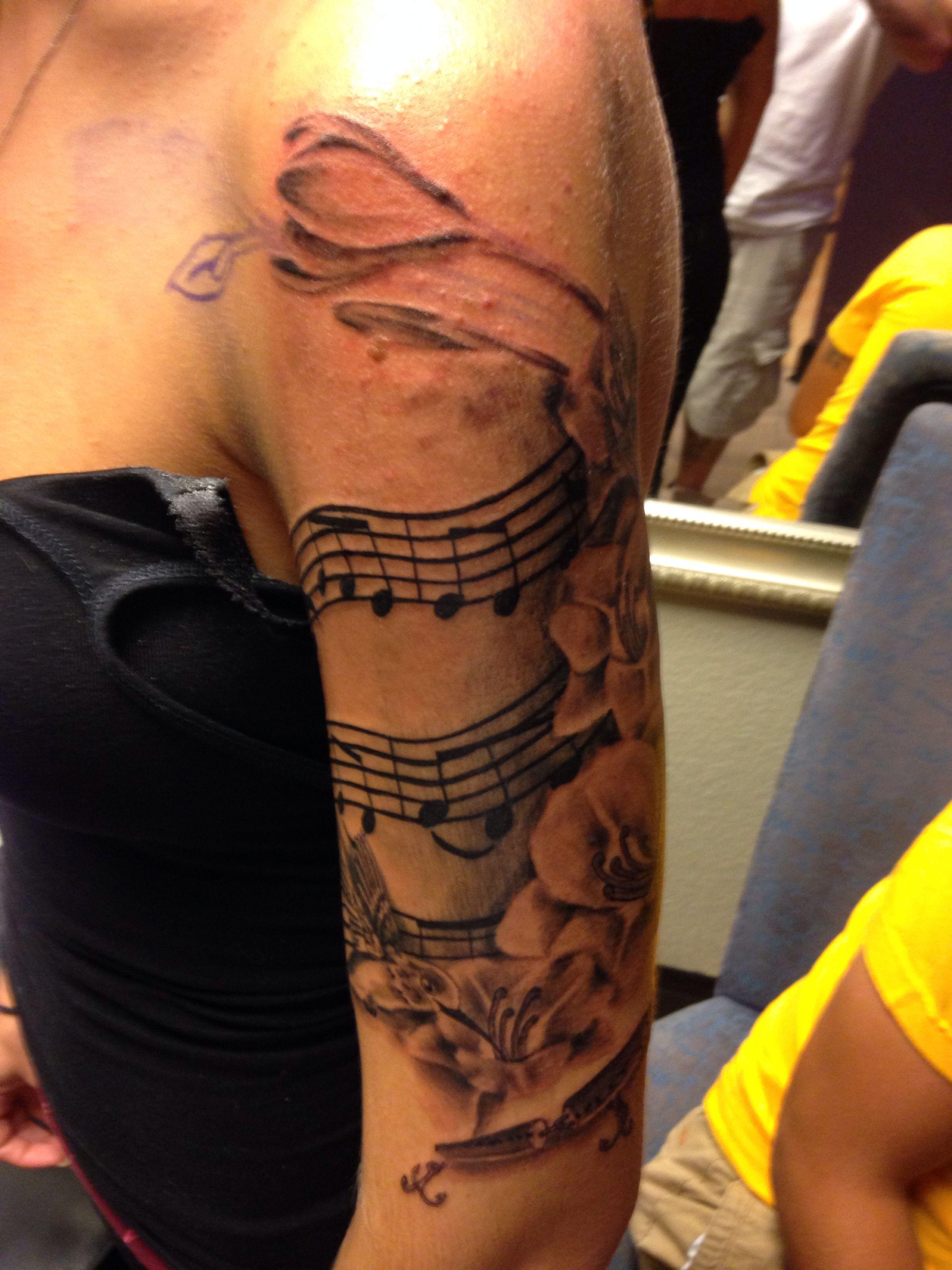 Female half sleeve music flower tattoo ink pinterest for Feminine music tattoos