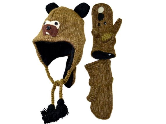 Brown beaver animal knit hat with mittens set  by HatsMittensEtc