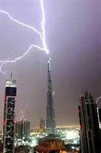 Lightning Striking The Tallest Building In Dubui
