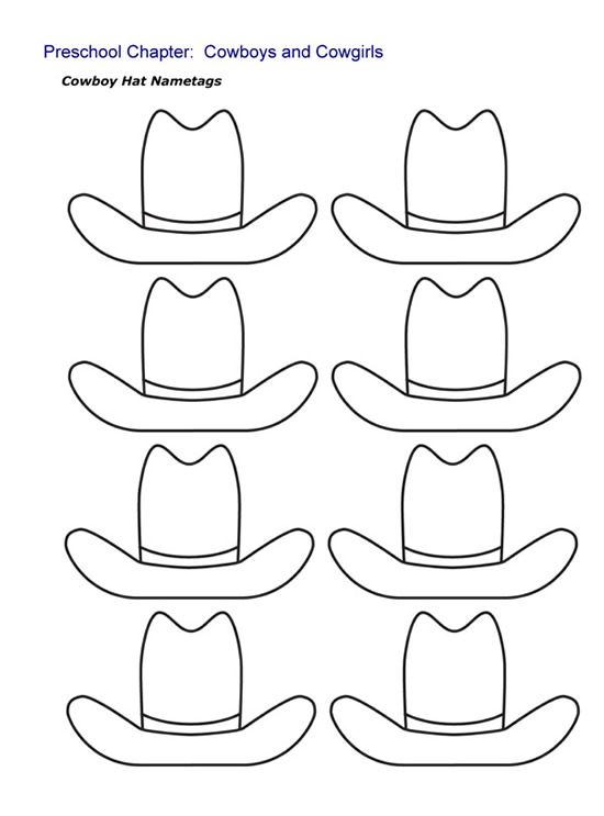 kindergarten printable hat templates cowboy hat nametags sheet