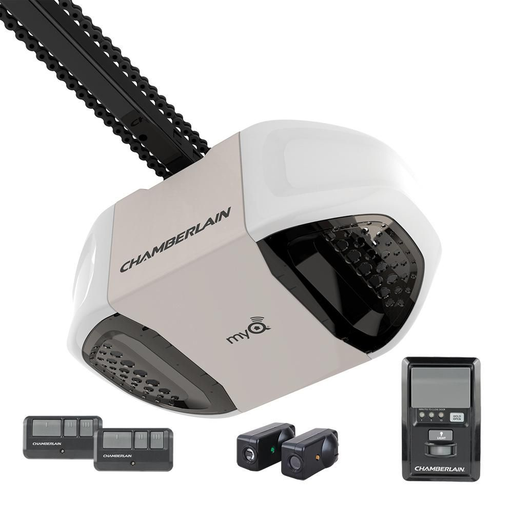 Chamberlain 3 4 Hp Myq Chain Drive Garage Door Opener Pd762ev The Home Depot Garage Door Controller Chamberlain Garage Door Opener Chamberlain Garage Door