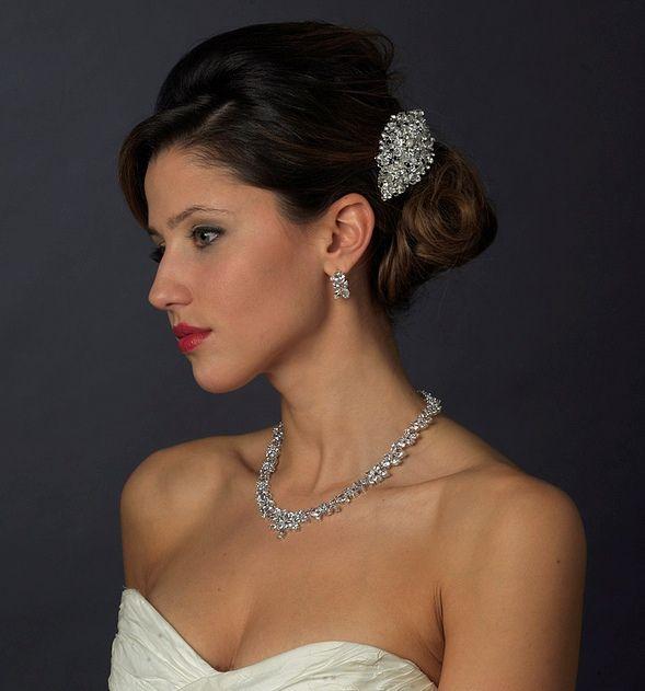 Vintage Look Crystal and Pearl Bridal Comb