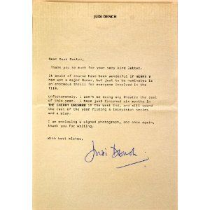 TitleJudi Dench Typed  Signed Letter  On Personal Letterhead