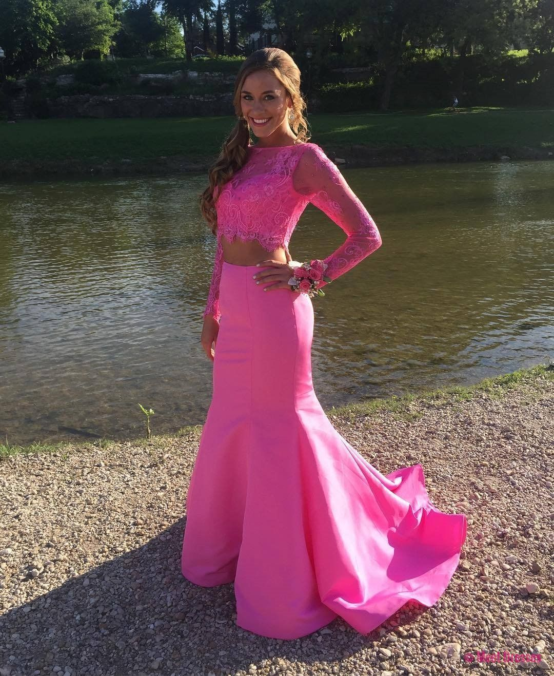 New Arrival Prom Dress,Modest Prom Dress,elegant pink lace crop top ...