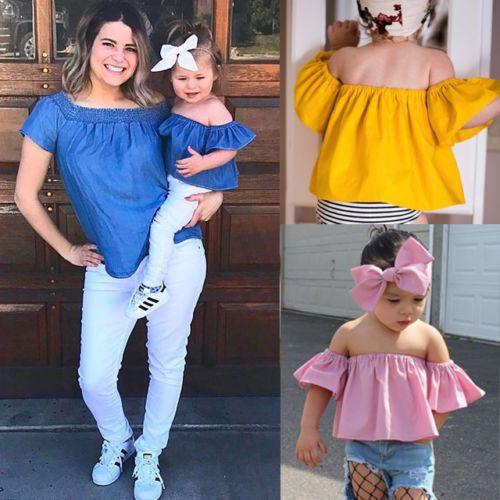 d00daa48e $3.92 - Kids Baby Girls Off Shoulder Tops T Shirt + Bowknot Headband 2Pcs  Outfits Set #ebay #Fashion
