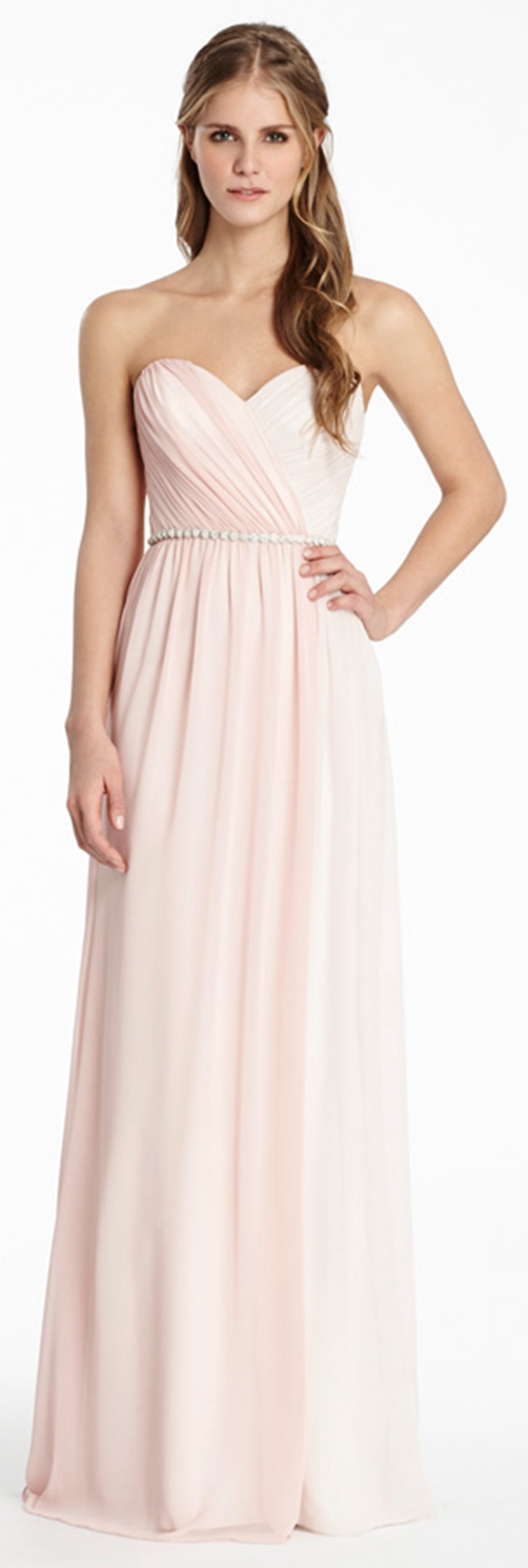 Chic two tone strapless sweetheart pleated long chiffon bridesmaid