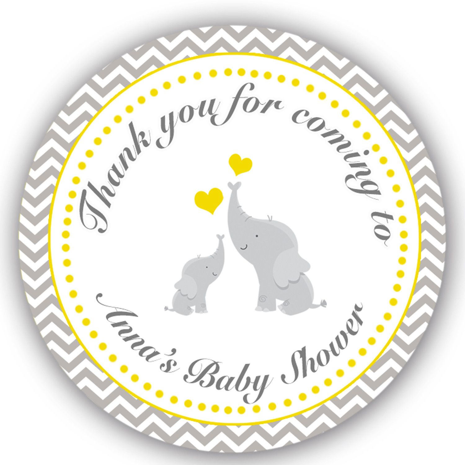 40 Stickers Thank You Labels Elephant Baby Shower Favor Chevron Yellow Grey
