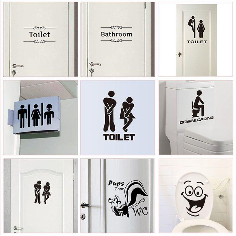 Funny Toilet sticker Wall Vinyl Decal Home Bathroom Wall Door Sign WC Washroom