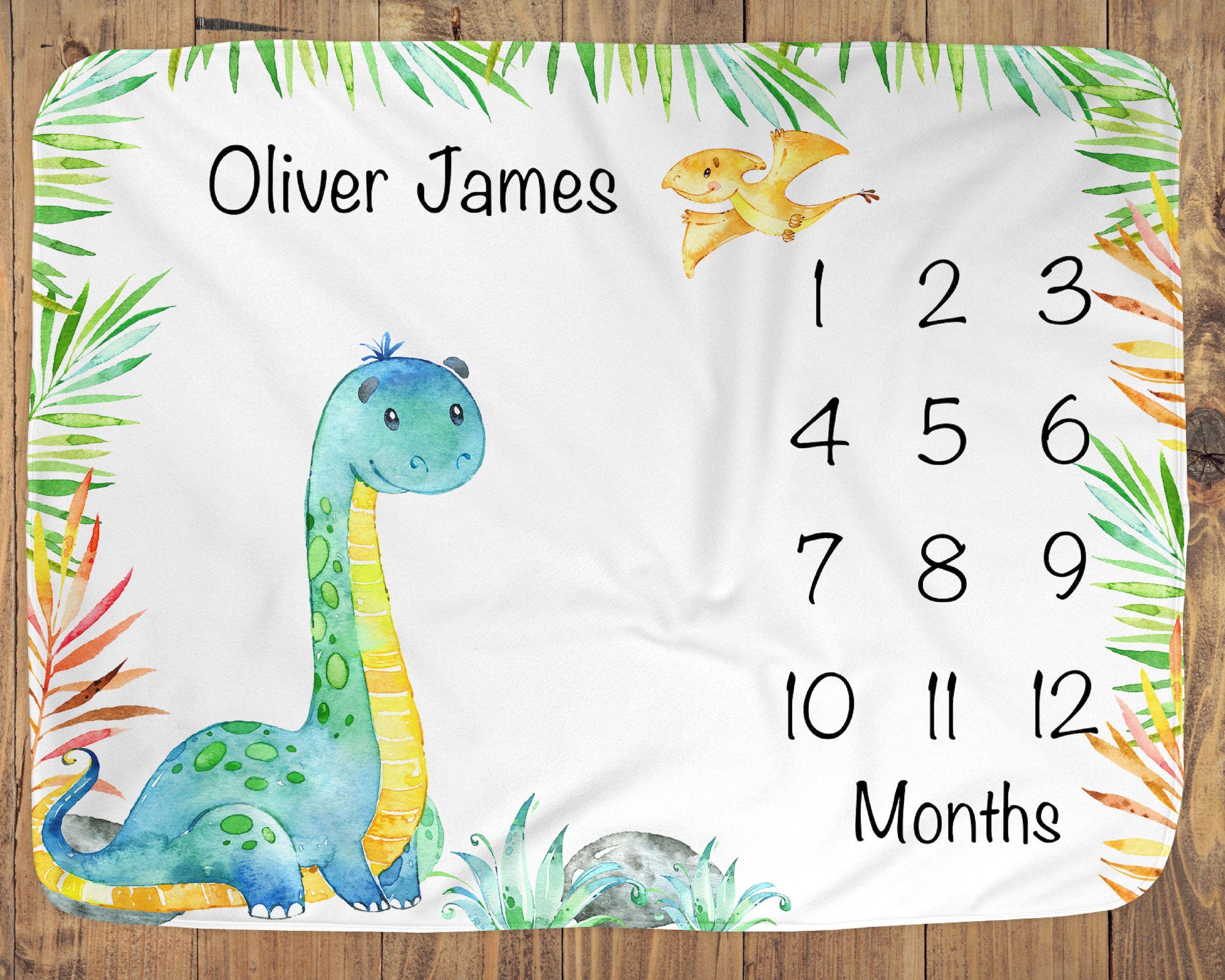 Dinosaur milestone blankets infant month blanket boy for