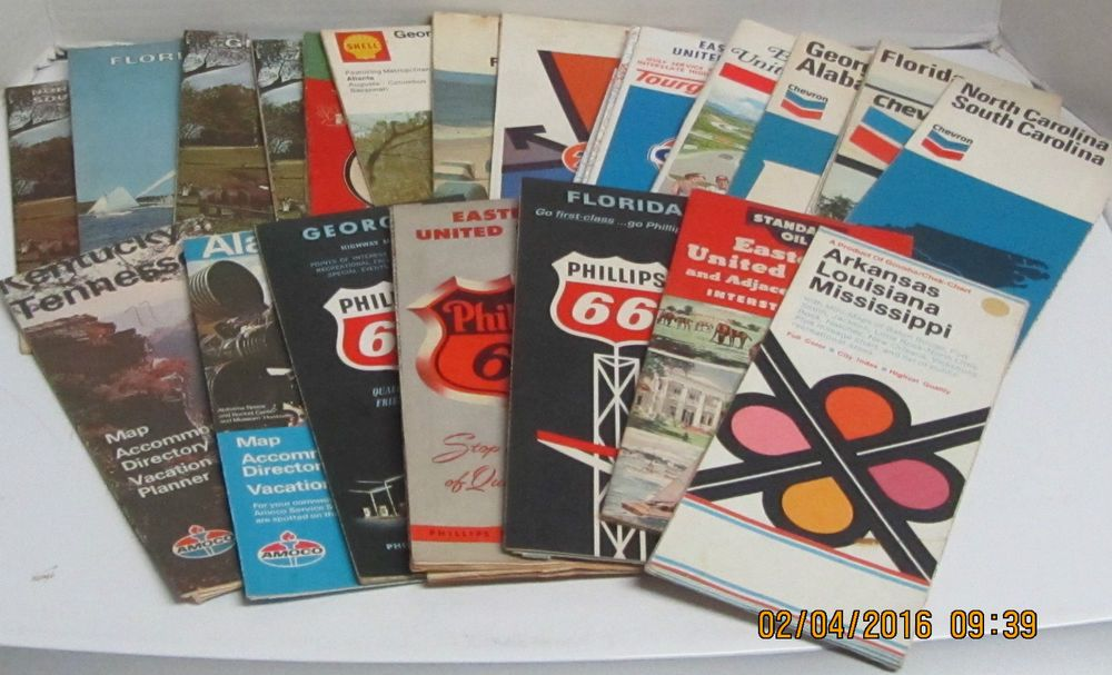 Roadmap Of The Us%0A Lot of    Vtg     s  s US State Road Maps  Gas Station  Chevron