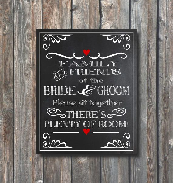Chalkboard Wedding Sign\u2013We Are Family Now-No Seating Plan Sign