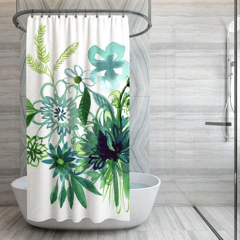 Aqua And Green Watercolor Flower Shower Curtain Flower Shower Curtain Green Watercolor Watercolor Flowers