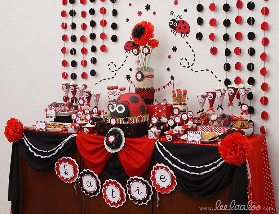 Red Ladybug Birthday Party Package Personalized FULL Collection Set