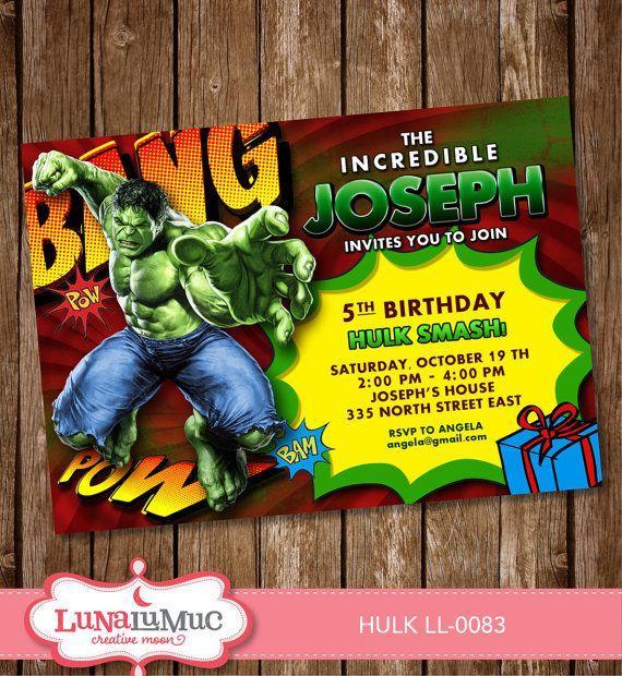Super Hero Incredible Hulk birthday party invitation Ask us – Hulk Party Invitations