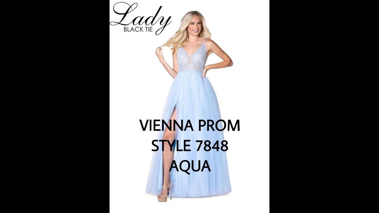 Vienna Prom Style 7848 Aqua Lady Black Tie Prom Style Prom Black Tie [ 720 x 1280 Pixel ]