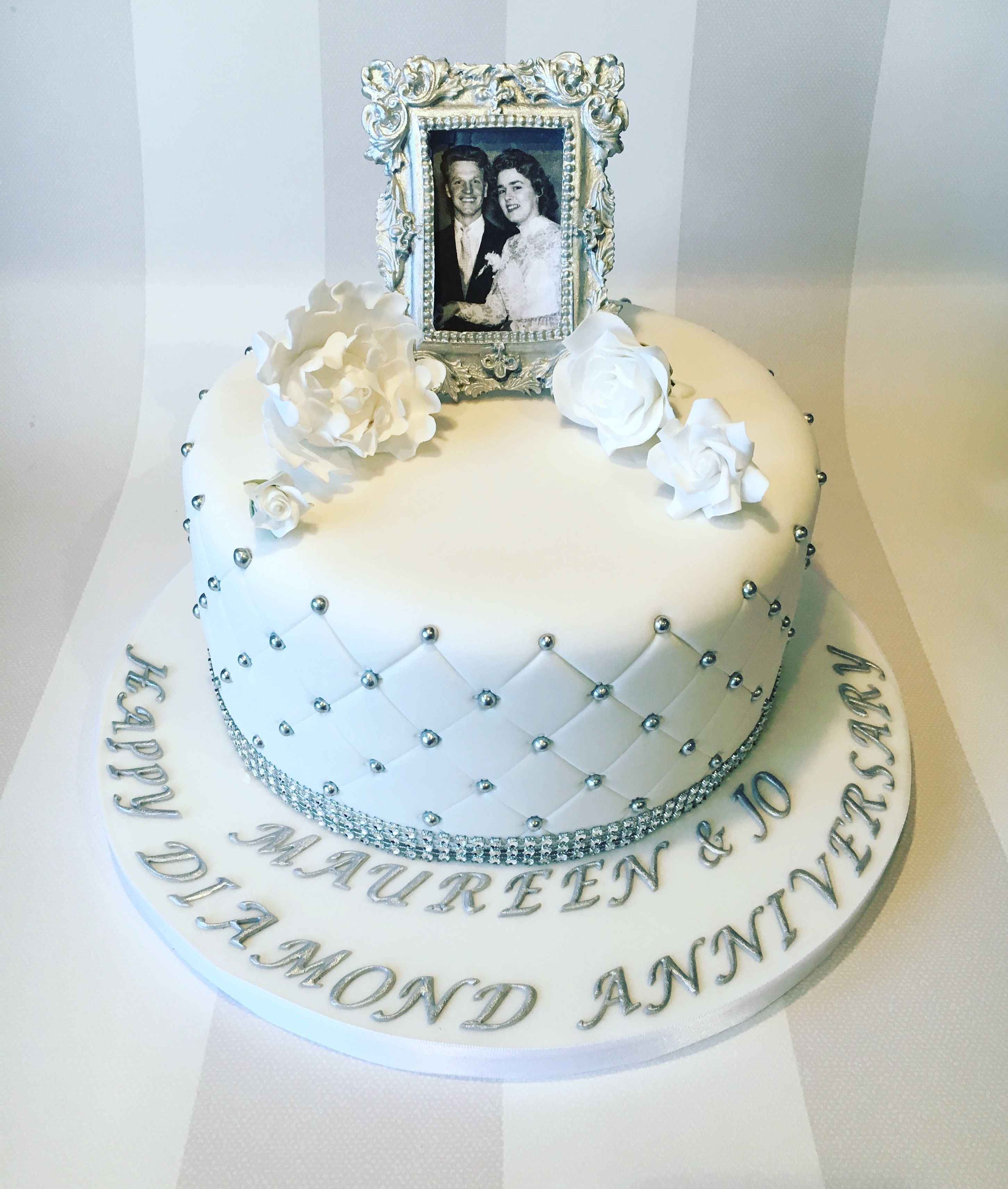 diamond wedding cakes wedding anniversary cake with quilting and edible 13514