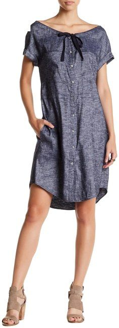 Free shipping and guaranteed authenticity on Theory Navy Gathered Off-shoulders/Boat Neck Tie Elastic Waist Short Casual Dress Size 0 (XS)About this Item  THEORY |NEW| Gathered Off-Shoul...