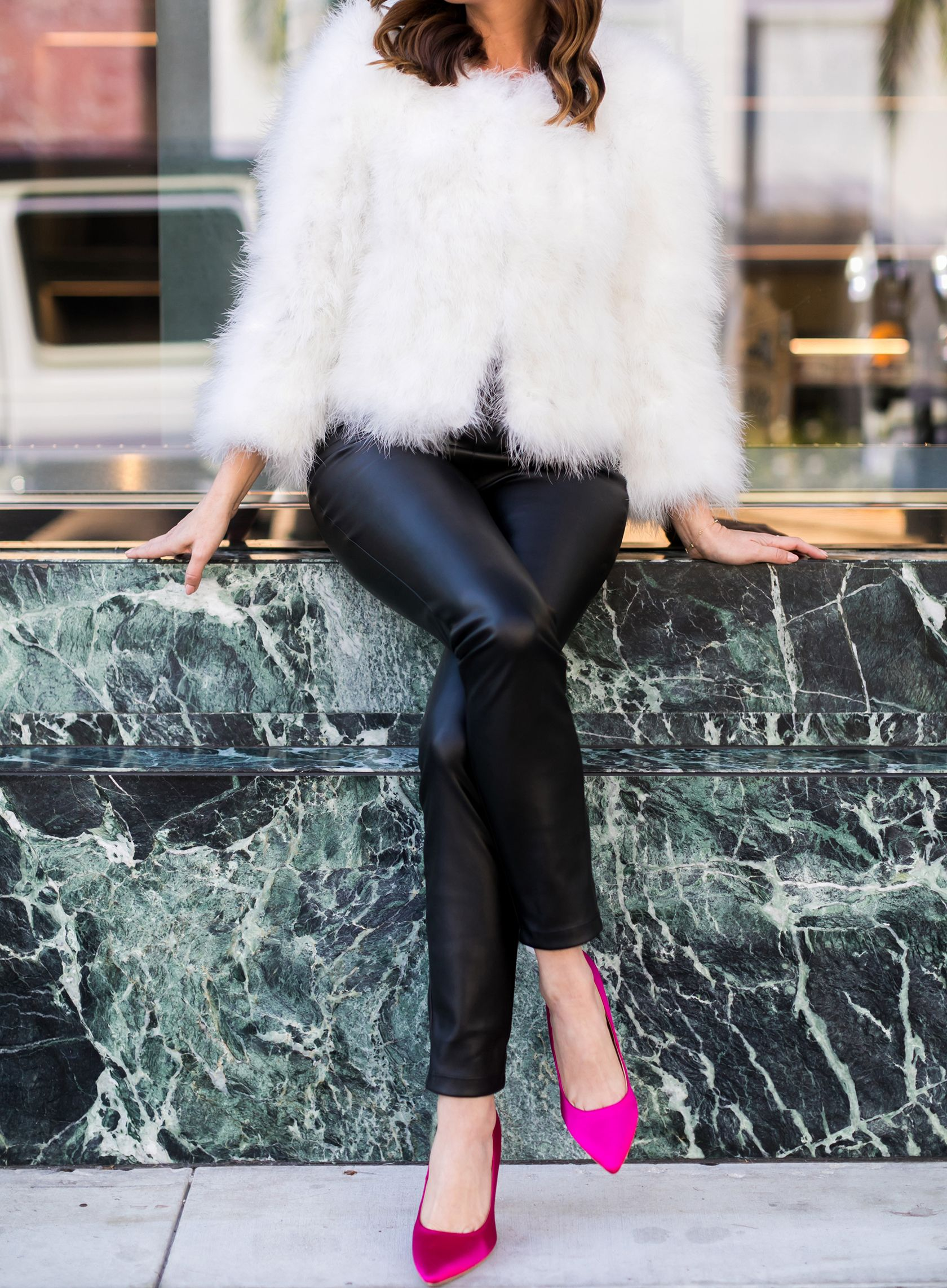 349373e56a4 Sydne Style shows holiday cocktail party outfit ideas in leather pants fur  coat and hot pink pumps  fur  leather  leatherleggings  holiday  pink  pumps    ...