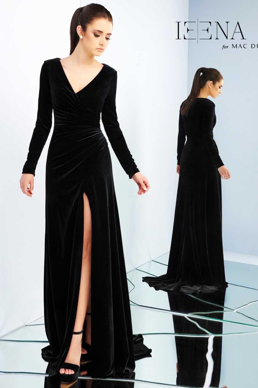 815ab6d7a1216d6 Вечернее бархатное платье Mac Duggal 26007I с длинным рукавом и разрезом.