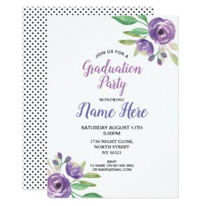 graduation party pretty invite purple flower lilac in 2018