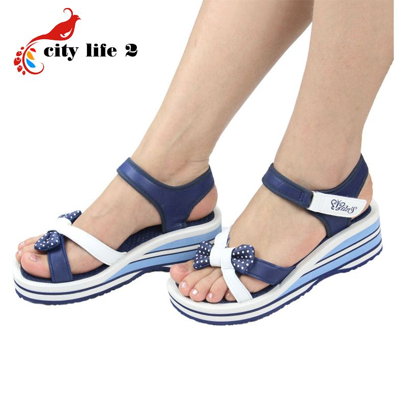 c245c5d780a1 Bowtie Casual Sandals Women 2015 New Vietnamese Shoes Velcro Pink Blue Wedges  Platform Shoes Summer Zapatos