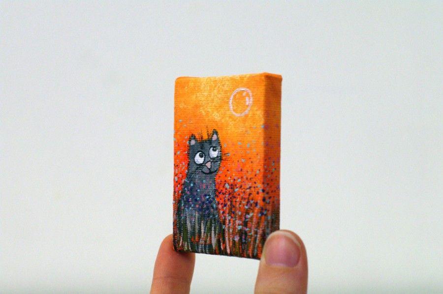 Small painting on canvas - Small acrylic painting - Cat art - Acrylic painting on canvas - Cat portrait illustration - Original animal painting