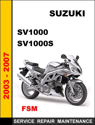 suzuki sv1000 sv1000s factory service repair manual cd sv1000 rh pinterest com Suzuki Repair Manuals Suzuki Motorcycle Manuals PDF