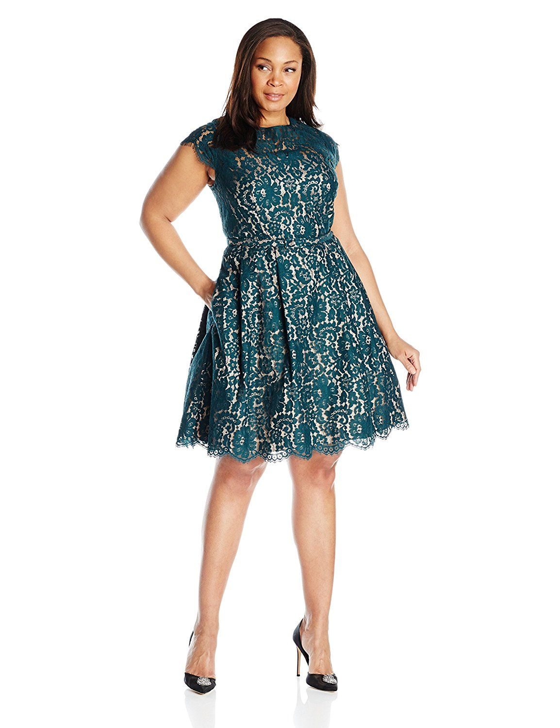 Eliza J Women s Plus Size Lace Fit and Flare Dress Additional