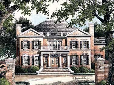 Classical Symmetry Hwbdo00566 Neoclassical House Plan From Builderhouseplans Com Brick Exterior House Colonial House Plans House Plans