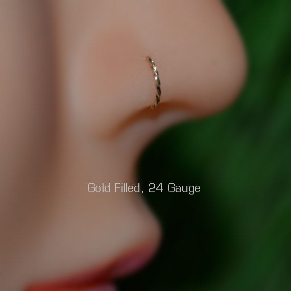 Nose Ring 24g 7mm Gold Nose Hoop Tragus Ring Forward Helix