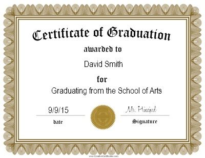 Graduation Certificate Template  Graduation Party