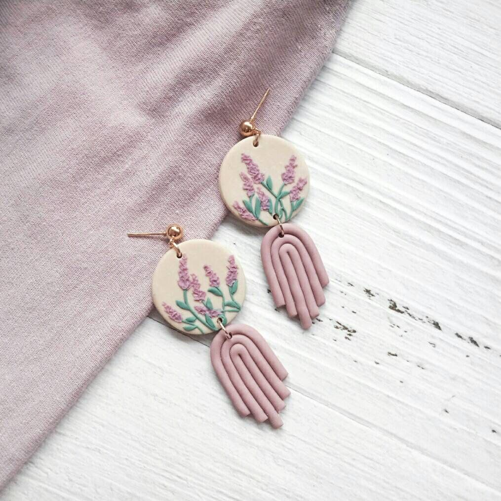 1 Pair Dangle Drop Earrings U-Shape Marbled lavender and pink with gold leaf Handmade Polymer Clay with 18k gold plated stud backings