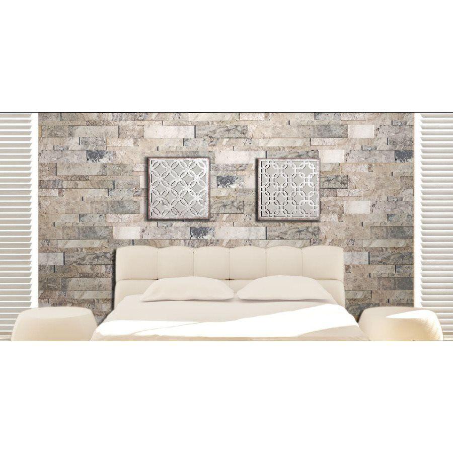 Shop Avenzo 6 In X 24 3D Espace Silver Travertine Linear Mosaic Wall