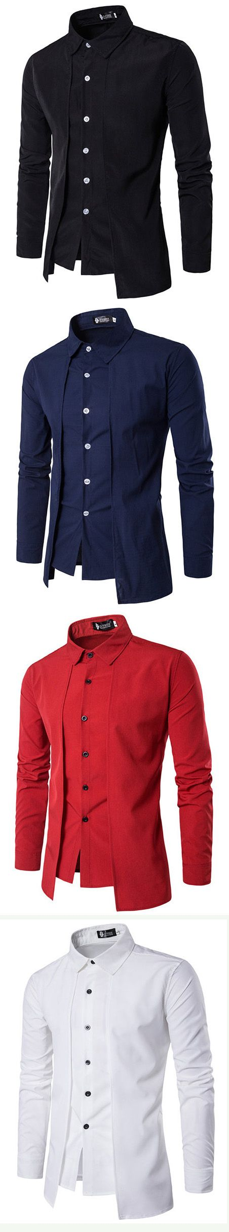 Fake two pieces simple style casual fashion designer shirts for men
