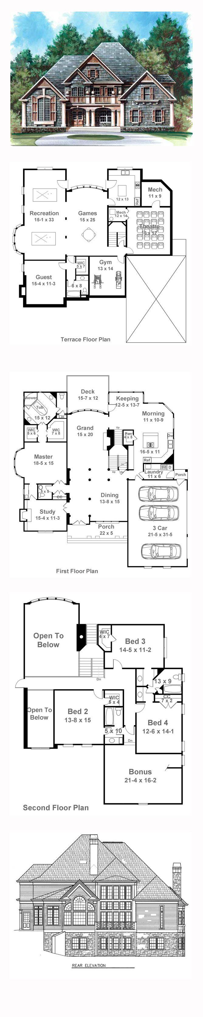 Tudor Style House Plan 72041 With 4 Bed 4 Bath 3 Car Garage Basement House Plans House Plans Ranch Style House Plans