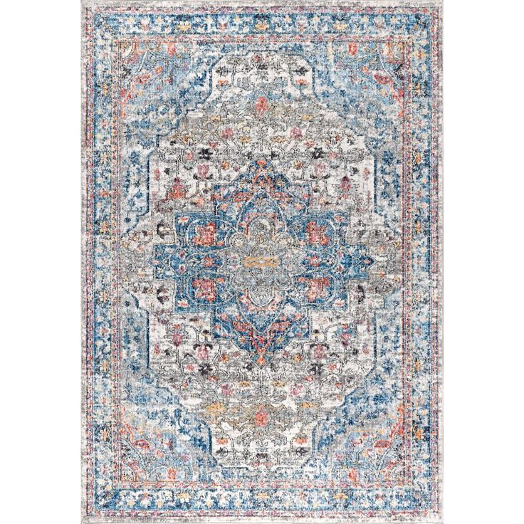 JONATHAN Y Manisa Vintage Medallion Ivory/Peacock Blue/Coral 5 ft. x 8 ft. Area Rug-RES103A-5 - The Home Depot