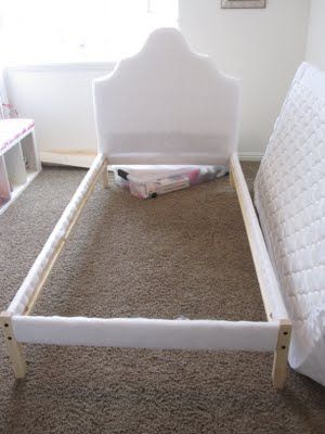 All Things Campbell Ivy S Upholstered Bed Ikea Bed Hack Upholstered Beds Diy Toddler Bed Ikea Bed Hack