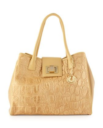 Angela2 Crocodile Embossed Flap Tote, Natural by Charles Jourdan at Last Call by Neiman Marcus.