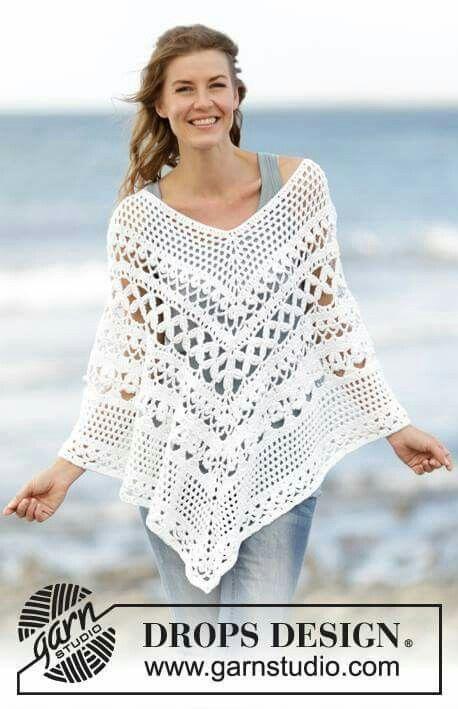 Pin de Jasmine N en Crochet | Pinterest | Ponchos, Chal y Abrigos