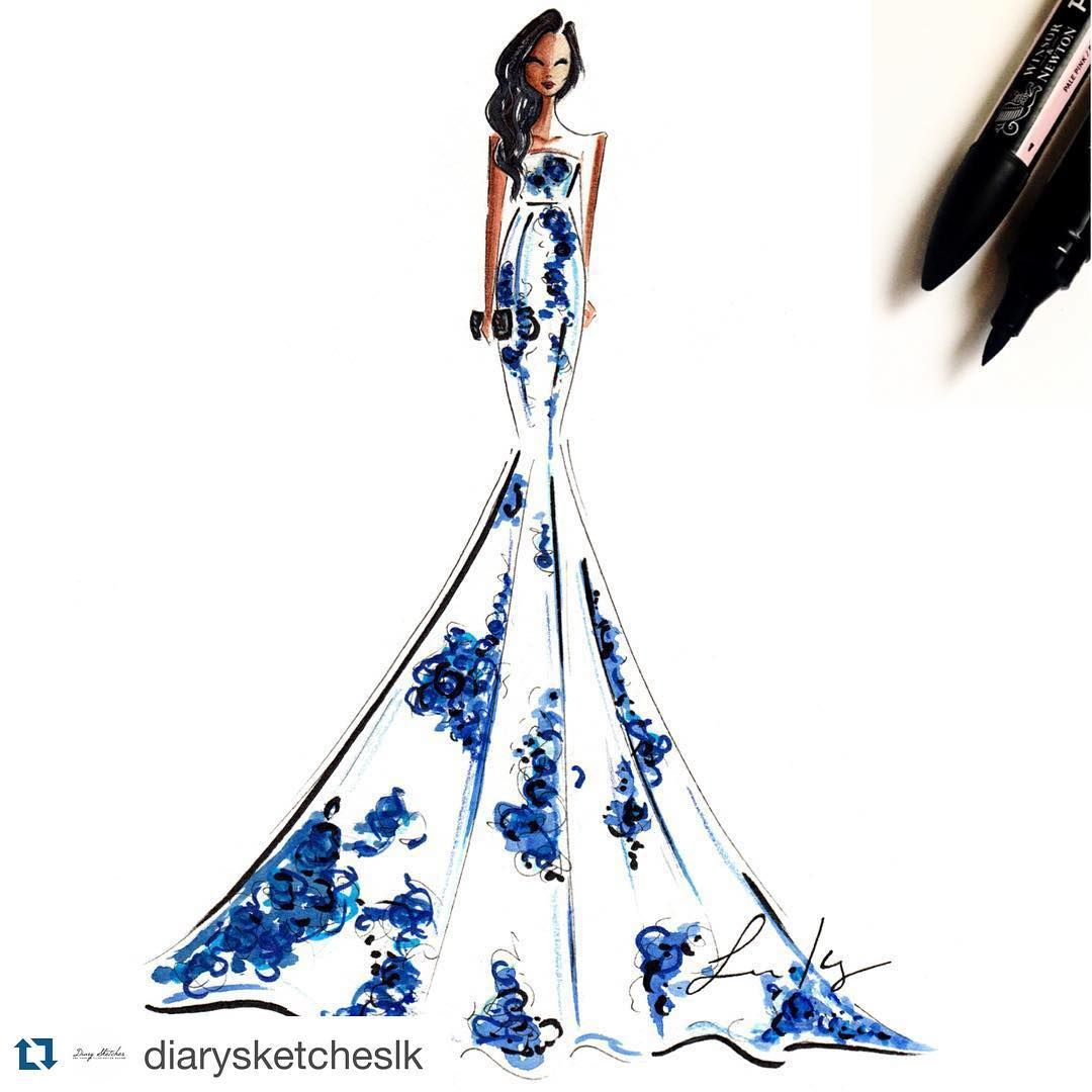 """#Repost @diarysketcheslk with @repostapp. #customportrait #fashionillustration #fashionart #customfashionillustration"""
