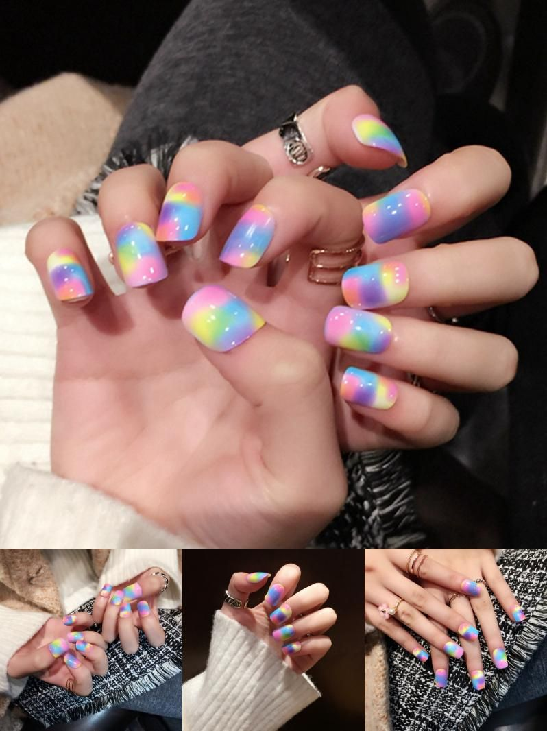 Visit to Buy] Gradient Flat Fake Nail Tips Beautiful Rainbow Color ...