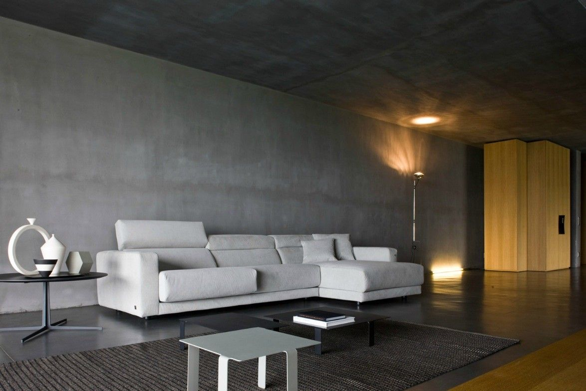 Interior, Wonderful Interior Design Large Living Room Ideas: Modern White L  Sofa With Gray Concrete Floor, Wall Also Ceiling