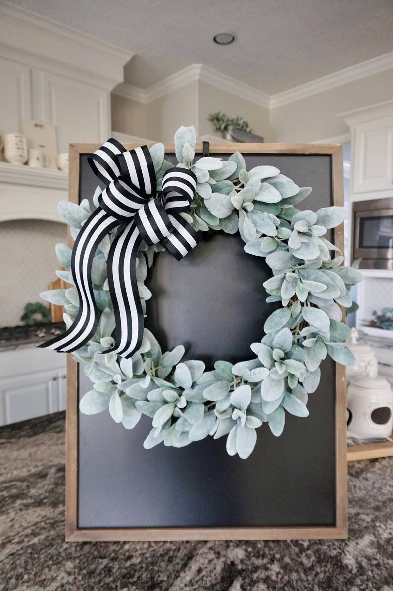Photo of Lamb's Ear Grapevine Wreath. Farmhouse Wreath. Lamb's Ear Wreath. Door Wreath. Monogram Wreath.