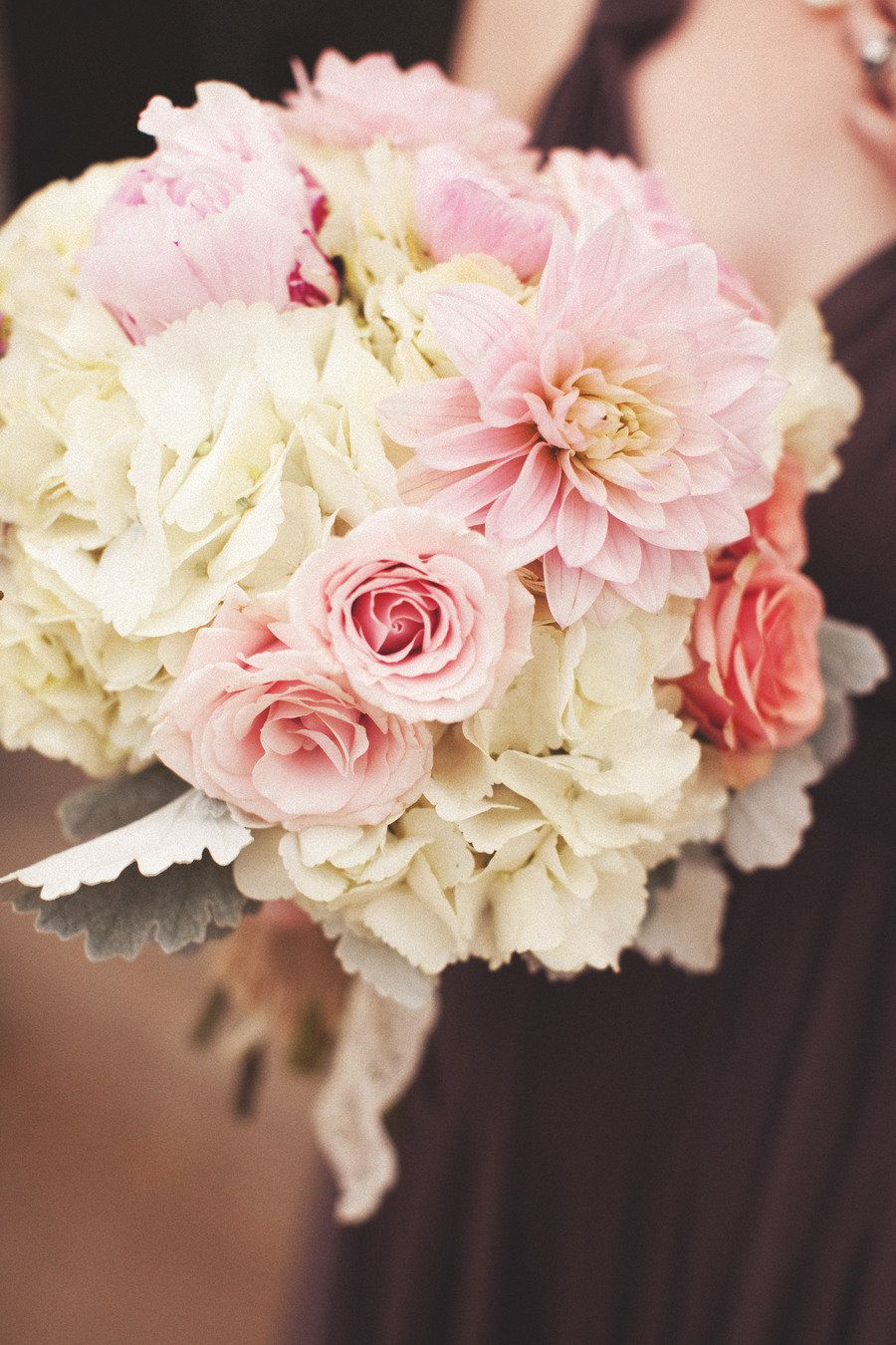 Nice and simple - base of hydrangea with roses and dahlias.